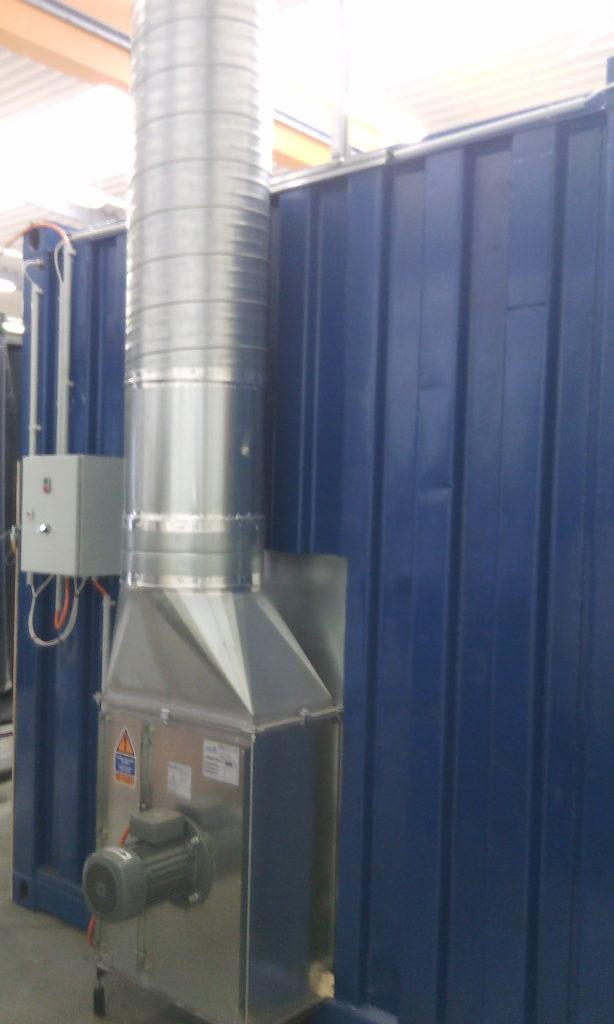 Q-Bic im Container als Luftleittunnel. Ventilator außerhalb der Ex-Zone