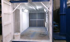 Container als Luftleittunnel und Zuluft-Nachströmfilter als Druckausgleich